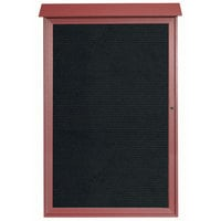 Aarco 54 inch x 38 inch Rosewood Outdoor Plastic Lumber Message Center with Letter Board - Single Hinged Door