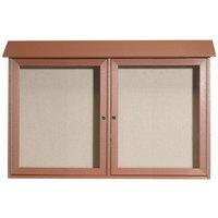 Aarco 30 inch x 45 inch Cedar Outdoor Plastic Lumber Message Center with Vinyl Tackboard - Dual Hinged Doors