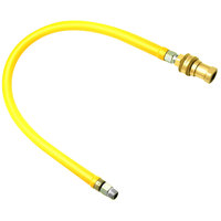 T&S HG-6D-36S Safe-T-Link 36 inch Coated Gas Connector Hose with Swivel Fittings, Quick Disconnect, and 90 Degree Elbows