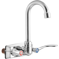 Regency Wall Mount Handsink Faucet with 8 3/4 inch Gooseneck Spout, 4 inch Centers, and Wrist Handles