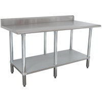 Advance Tabco KMSLAG-308-X 96 inch x 30 inch 16 Gauge Stainless Steel Work Table with Undershelf and Backsplash
