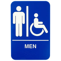 ADA Men's Restroom Sign with Braille - Blue and White, 9 inch x 6 inch