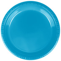 Creative Converting 28313121 9 inch Turquoise Blue Plastic Dinner Plate - 240 / Case