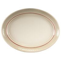 Homer Laughlin 1492-0352 Gothic Red Jade 11 1/2 inch Off White Oval Platter - 12/Case