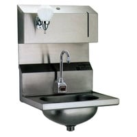 Eagle Group HSA-10-FDPE Electronic Hand Sink with Gooseneck Faucet, Soap Dispenser, P-Trap, Tail Piece, and Basket Drain