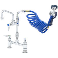 T&S PG-8DSAV-06 Deck Mount Pet Grooming Faucet with 8 inch Centers, 6 inch Add On Nozzle, Aluminum Spray Valve, 9' Coiled Hose, and Vacuum Breaker