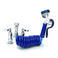 T&S PG-4DREV Deck Mount Pet Grooming Faucet with 4 inch Centers, Aluminum Spray Valve, 9' Coiled Hose, and Vacuum Breaker