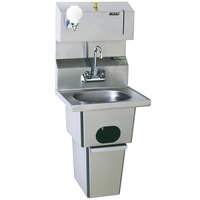 Eagle Group HSA-10-FDP-T Hand Sink with Gooseneck Faucet, Towel Dispenser, Soap Dispenser, Built In Waste Receptacle, and Basket Drain