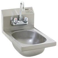 Eagle Group HSAN-10-F Space Saver Hand Sink with Splash Mount Gooseneck Faucet and Basket Drain