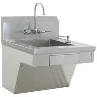 Eagle Group HSAP-14-ADA-FW ADA Compliant Hand Sink with Gooseneck Faucet, Wrist Action Handles, C-Fold Towel Dispenser, Soap Dispenser, Skirt, and Basket Drain