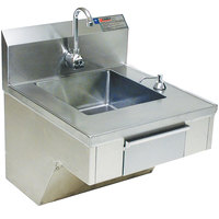 Eagle Group HSAP-14-ADA-FE-B Hand Sink with Gooseneck Faucet, C-Fold Towel Dispenser, Soap Dispenser, Skirt, and Basket Drain