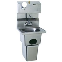 Eagle Group HSA-10-FDP-T-MG MicroGard Hand Sink with Gooseneck Faucet, Towel Dispenser, Soap Dispenser, Built In Waste Receptacle, and Basket Drain