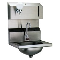 Eagle Group HSA-10-FDPE-MG MicroGard Electronic Hand Sink with Gooseneck Faucet, Soap Dispenser, P-Trap, Tail Piece, and Basket Drain