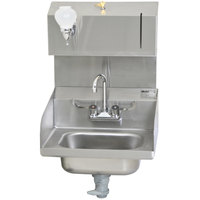 Eagle Group HSA-10-FWLDP-LRS Hand Sink with Gooseneck Faucet, Towel Dispenser, Soap Dispenser, Polymer Drain Lever, Overflow, and End Splashes