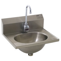 Eagle Group HSA-10-FE-MG MicroGard Electronic Hand Sink with Gooseneck Faucet and Basket Drain