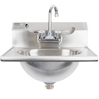 Eagle Group HSA-10-FW Hand Sink with Gooseneck Faucet, Wrist Action and Standard Handles, and Basket Drain