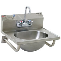 Eagle Group HSA-10-FTWS Hand Sink with Gooseneck Faucet, Basket Drain, and Tubular Wall Brackets