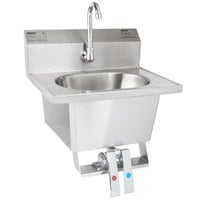 Eagle Group HSA-10-FK Knee Operated Wall Mount Hand Sink with Gooseneck, Knee Pedals, Skirt, and Basket Drain