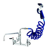 T&S PG-8WSAN-12 Wall Mount Pet Grooming Faucet with 8 inch Centers, 12 inch Add On Nozzle, Aluminum Spray Valve, and 9' Coiled Hose