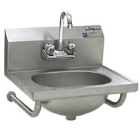 Eagle Group HSA-10-FTWS-MG MicroGard Hand Sink with Gooseneck Faucet, Basket Drain, and Tubular Wall Brackets
