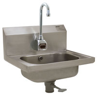Eagle Group HSA-10-FOE Electronic Hand Sink with Gooseneck Faucet, Basket Drain, Polymer Lever Drain, and Overflow
