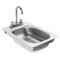 Eagle Group SR10-14-5-1 One Compartment Stainless Steel Drop-In Sink with Deck Mount Faucet and Gooseneck Nozzle - 10 inch x 14 inch x 5 inch Bowl