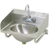 Eagle Group HSA-10-FTWS-LRS Hand Sink with Gooseneck Faucet, P-Trap, Tubular Wall Brackets, Side Splashes, and Basket Drain
