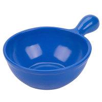 Tablecraft CW3370BS 8 oz. Blue Speckle Cast Aluminum Soup Bowl with Handle