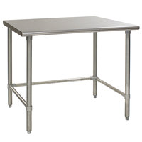 Eagle Group T3660GTB 36 inch x 60 inch Open Base Stainless Steel Commercial Work Table