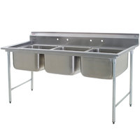 Eagle Group 314-24-3 Three Compartment Stainless Steel Commercial Sink without Drainboards - 83 1/2 inch