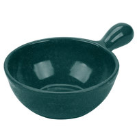 Tablecraft CW3370HGNS 8 oz. Hunter Green with White Speckle Cast Aluminum Soup Bowl with Handle