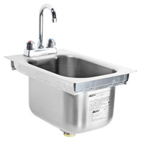 Eagle Group SR10-14-9.5-1 One Compartment Stainless Steel Drop-In Sink with Deck Mount Faucet and Gooseneck Nozzle - 10 inch x 14 inch x 9 1/2 inch Bowl