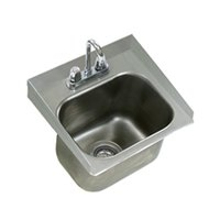 Eagle Group SRU14-10-5-1 One Compartment Stainless Steel Drop-In Sink with Deck Mount Faucet and Gooseneck Nozzle - 14 inch x 10 inch x 5 inch Bowl