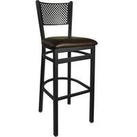 BFM Seating 2161BDBV-SB Polk Sand Black Steel Bar Height Chair with 2 inch Dark Brown Vinyl Seat