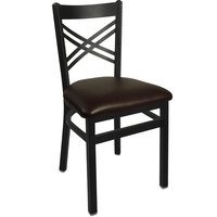 BFM Seating 2130CDBV-SB Akrin Metal Chair with 2 inch Dark Brown Vinyl Seat