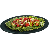 Tablecraft CW12025BKGS 19 inch x 15 inch Black with Green Speckle Cast Aluminum Wide Rim Oval Display Platter