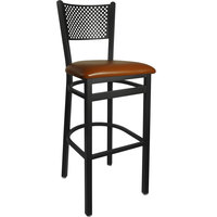 BFM Seating 2161BLBV-SB Polk Sand Black Steel Bar Height Chair with 2 inch Light Brown Vinyl Seat