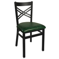BFM Seating 2130CGNV-SB Akrin Metal Chair with 2 inch Green Vinyl Seat