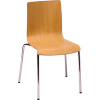 BFM Seating JA601CHNT Rita Stackable Natural Laminate Side Chair
