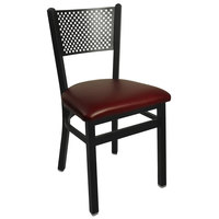 BFM Seating 2161CBUV-SB Polk Sand Black Steel Side Chair with 2 inch Burgundy Vinyl Seat