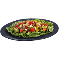 Tablecraft CW12025MBS 19 inch x 15 inch Midnight with Blue Speckle Cast Aluminum Wide Rim Oval Display Platter
