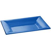 Tablecraft CW12027CBL 18 inch x 13 inch Cobalt Blue Cast Aluminum Wide Rim Rectangle Platter