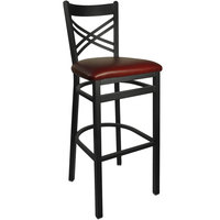 BFM Seating 2130BBUV-SB Akrin Metal Barstool with 2 inch Burgundy Vinyl Seat