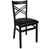BFM Seating 2130CBLV-SB Akrin Metal Chair with 2 inch Black Vinyl Seat