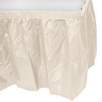 Creative Converting 10032 14' x 29 inch Ivory Plastic Table Skirt