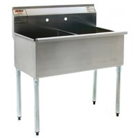 Eagle Group 2448-2-16/4 Two Compartment Stainless Steel Commercial Sink without Drainboard - 49 3/8 inch