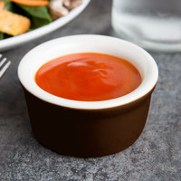 Tuxton B1X-035 DuraTux 3.5 oz. Caramel / Ivory (American White) Smooth China Ramekin - 48/Case