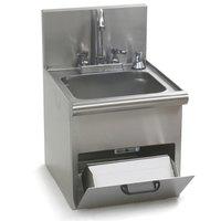 Eagle Group HWC-E Hand Wash Sink with Encore Gooseneck Faucet, Built In Towel Dispenser, Soap Dispenser, and Basket Drain