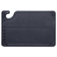 San Jamar CBG6938BK Saf-T-Grip® 9 inch x 6 inch x 3/8 inch Black Bar Size Cutting Board with Hook