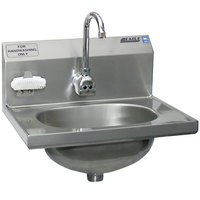 Eagle Group HSA-10-FE-B-NB-MG MicroGard Hand Sink with Gooseneck Faucet, Nail Brush, Nail Brush Holder, and Basket Drain